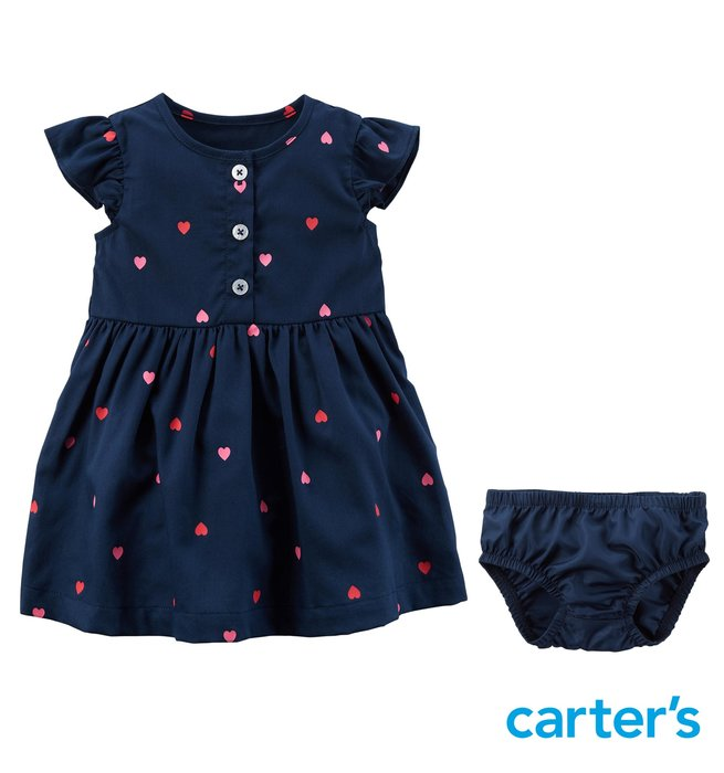 美國進口 Carter's 卡特 女童裝 女寶裝 短袖小洋裝 + 荷葉包屁褲*外出套裝二件組