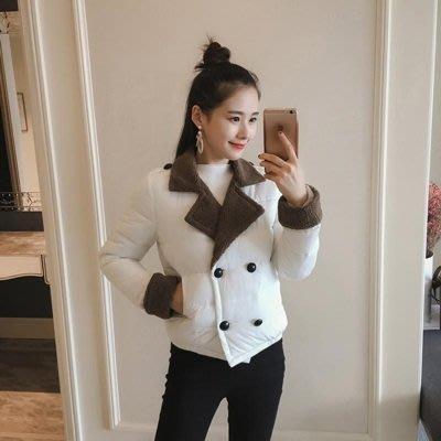 羽絨外套 翻領夾克-拼接羊羔毛雙排扣短款女外套6色73pa31[獨家進口][米蘭精品]