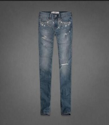新!美國Abercrombie & Fitch AF high rise super skinny jeans 0號淺色復古破破刷牛仔褲含運在台