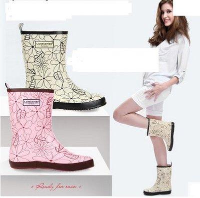 好雨時節 夏款橡膠女式中筒清雅花葉雨鞋女士雨靴中筒女雨鞋