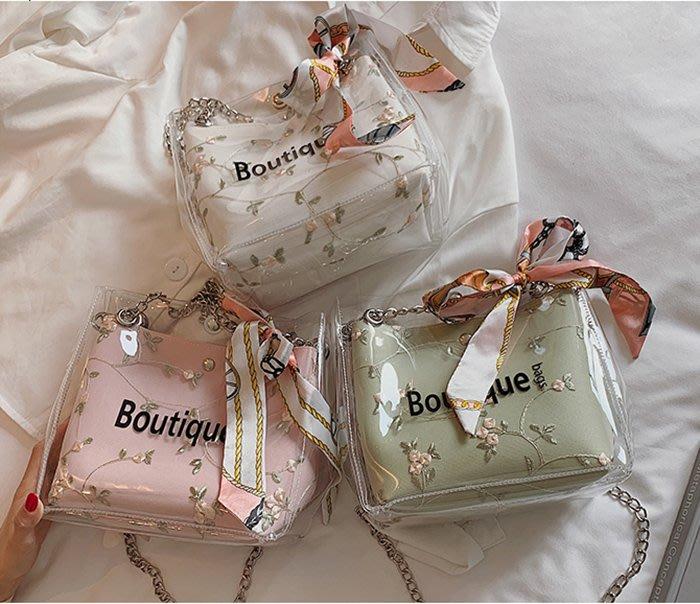 歐美風格簡約百搭透明斜肩包果凍包單肩包水桶包仙女水桶包子母包