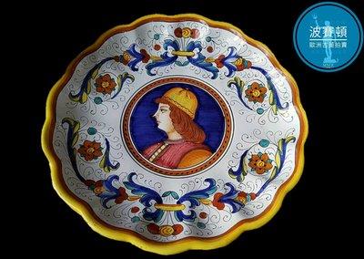 【波賽頓-歐洲古董拍賣】歐洲/西洋 意大利古董 意大利托斯卡尼手工彩繪瓷盤 C款(年份:1940年)(直徑:31cm)(落款:APS Epuro 289/23)