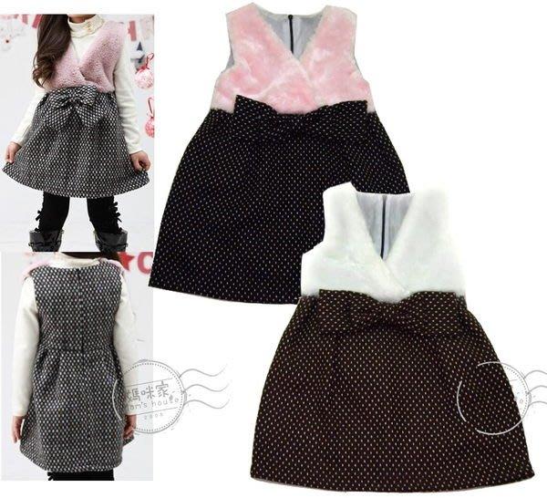 媽咪家【AG071】AG71貴氣公主風 厚綿 毛絨 氣質 優雅 洋裝 背心裙 連身裙 娃娃裝~5.7.9.11.13