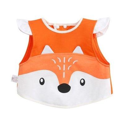 哆啦本鋪 寶寶罩衣純棉護衣春夏無袖兒童圍裙小孩吃飯衣圍兜嬰兒防水反穿衣 D655