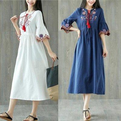 春夏新款民族風復古女裝流蘇刺繡繡花收腰棉麻短袖寬鬆連身裙
