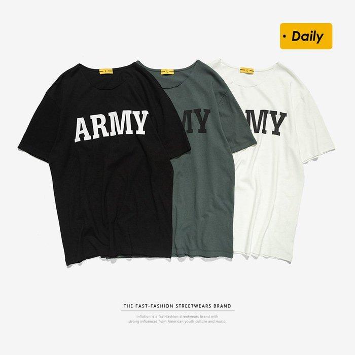 TST- ARMY 文字 寬鬆 大尺寸 oversize 落肩五分袖 短袖T恤 短T 情侶款美式西岸