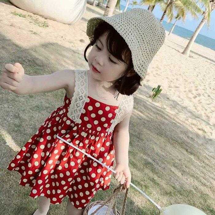 •*~ 辣媽咪衣飾小舖 ~*•❤童裝系列❤K720157韓版兒童夏款甜美可愛蕾絲吊帶小波點印花吊帶裙洋裝