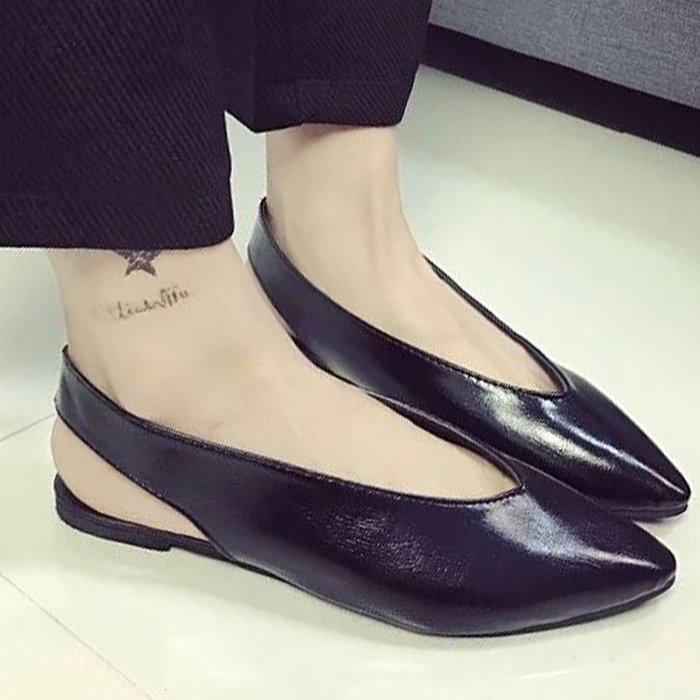 涼鞋 歐美時尚皮革素色尖頭涼鞋【S1617】☆雙兒網☆