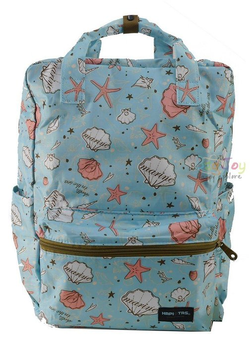 HAPI TAS 摺疊手提後背包 - 藍色海星貝殼