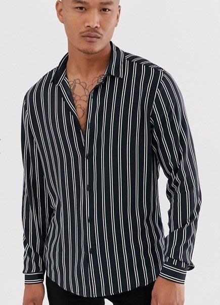 ◎美國代買◎ASOS條紋印花黑底色經典百搭款英倫時尚型男長袖條紋襯衫~歐美街風~大尺碼