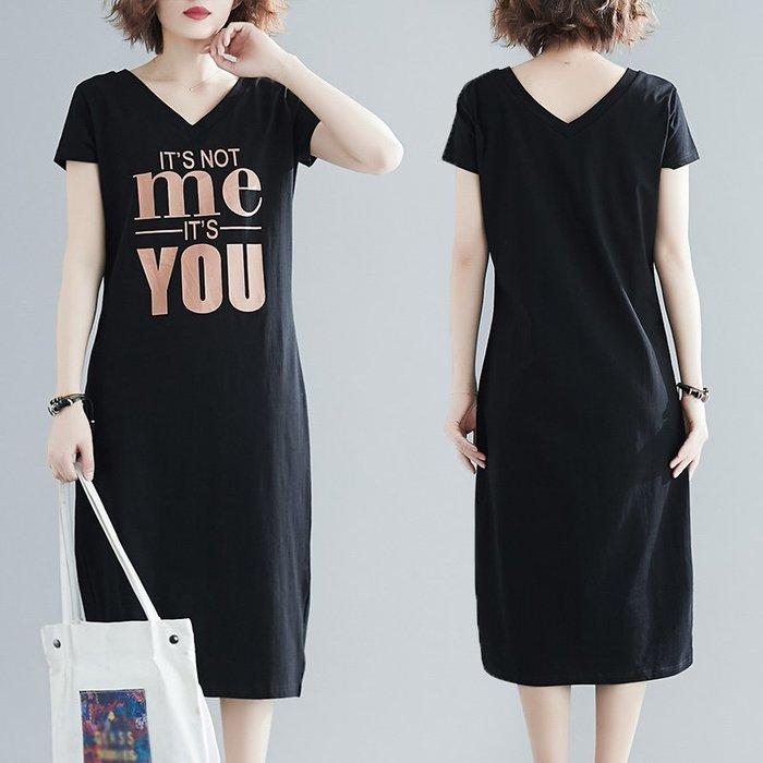 [C.M.平價精品館]新品特價/XL~4XL簡約V領修飾臉型顯瘦有型黑色短袖洋裝  加大碼