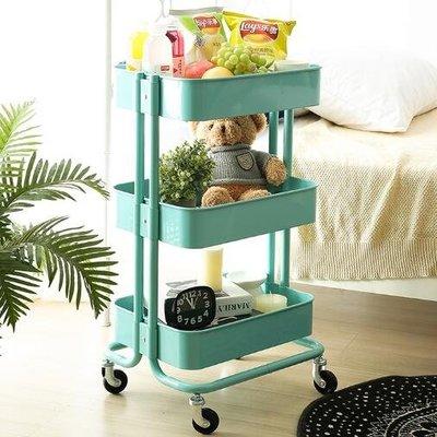 三層移動餐車小推車臥室家用置物架/手推車帶輪廚房置物車 zm1135