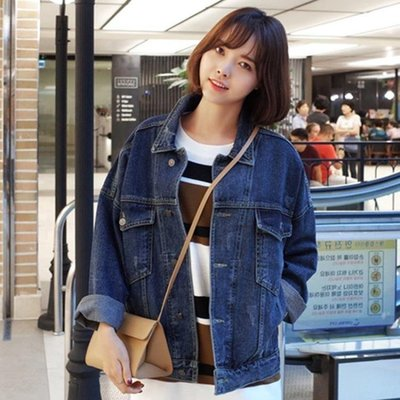 日和生活館 牛仔外套女春秋裝新款寬鬆學生韓版BF原宿風外套牛仔衣潮S686