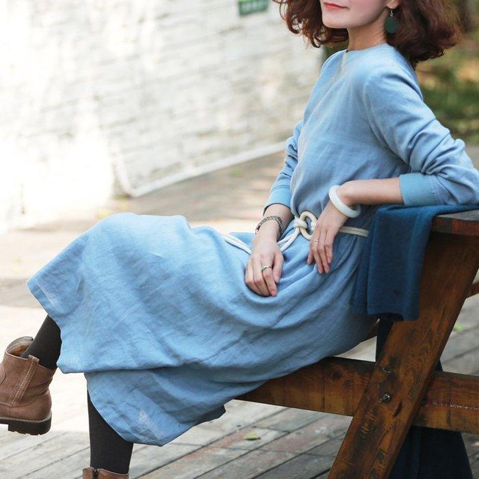 【鈷藍家】棉麻臆想 原創秋冬款內裡銀狐絨亞麻袍子理想生活素舊灰藍色亞麻拼接羅紋加絨保暖長款連身裙