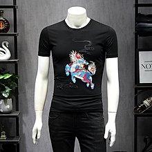 【英爵倫】男士短袖T恤圓領麒麟刺繡修身加大碼汗衫2020夏裝新品青年半袖衫
