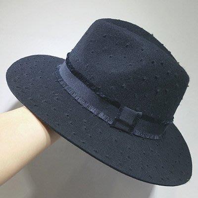 2018秋冬欧美羊毛呢波点拉毛工艺羊毛礼帽优雅百搭爵士帽子气质款