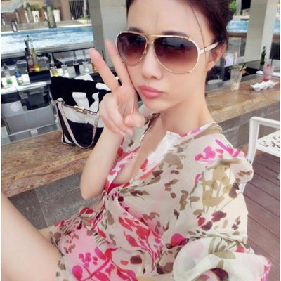 =EZZ=2984 夏裝新款長袖印花雪紡上衣 時尚寬鬆沙灘防曬衣