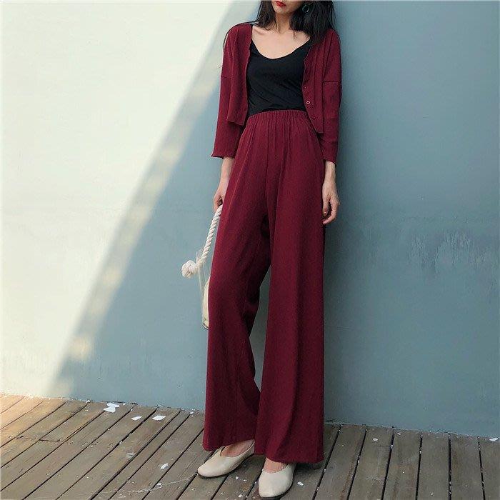 百搭 潮流 時尚 個性 韓版港風套裝女 時尚新款潮松緊v領開衫上衣高腰闊腿褲 兩件套