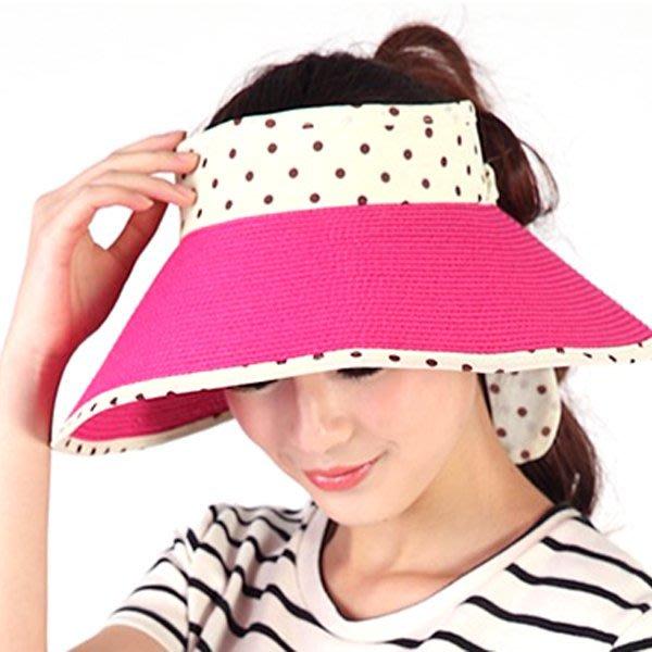 帽子 【FSS003】韓系點點款空頂遮陽帽 陽光 遮陽 配件 洋裝 收納女王
