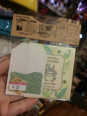 100%日本 Totoro 龍貓 吱吱喳 bom bom ba 煤炭屎 精美 茶包造型 Mini  Letter set  迷理 信封信紙 套裝 綠葉款 日本製