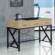 【DH】商品貨號A764-3商品名稱《芮緹》4尺黃橡木色三抽鐵書桌(圖一)台灣製.備灰橡木色可選.新品特價