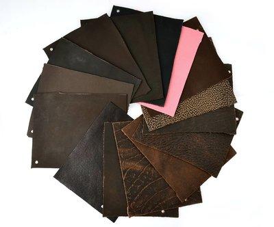 DIY 皮革材料-15片各式壓紋真皮皮革(181101-41)