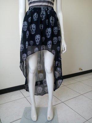 H&M DIVIDED不規則下擺骷顱頭圖案紗裙 (SIZE:EUR 34號)