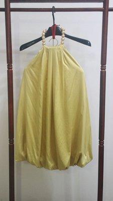 SLY黃色挖背露肩小禮服 S號 - 購自專櫃 原價4080 婚禮小洋裝 小禮服