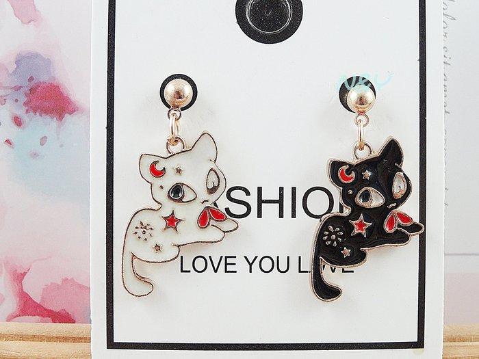 【N&Y】合金白色小貓黑色小貓耳環耳針耳釘☆EB83共2色