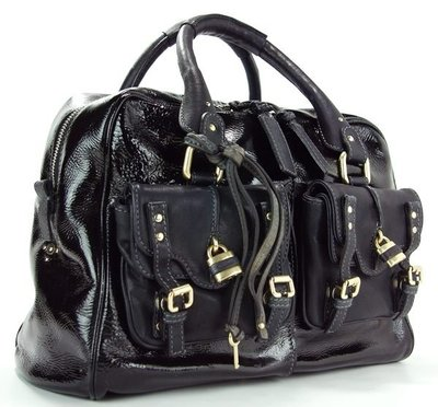J&S 精品小舖 Chloe 7HS058 Strap Bowling Bag Black Patent 黑漆皮雙袋鎖頭包 現貨