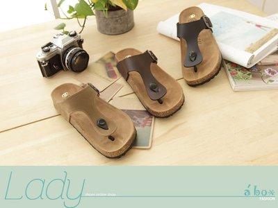 格子舖*【AP8269】MIT台灣製造 高質感基本款皮革人字夾腳半包鞋 懶人鞋