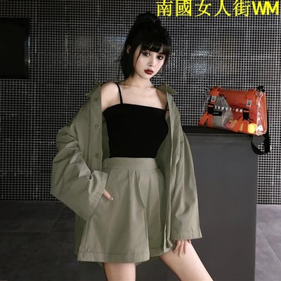 南國女人街WM夏裝兩件套洋氣工裝純色寬松襯衫女+高腰闊腿短褲顯瘦休閒套裝褲
