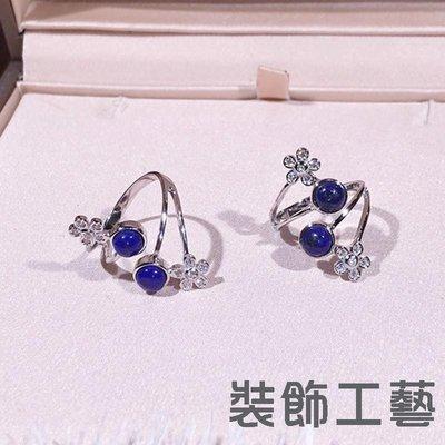 S925銀青金石鑲鉆花朵多層戒指 韓版小清新森系時尚藍色開口戒指