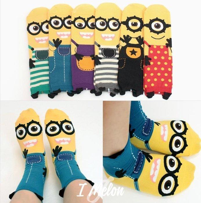::: i-MelOn ::: 100%韓國空運 正韓【現貨】韓製 正版可愛小小兵 卡通 短襪襪子