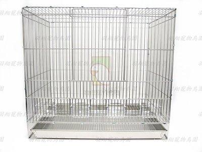304不鏽鋼兩尺加高鳥籠+木棍+壓克力九官杯+不鏽鋼便盤/羽翔寵物鳥園/304白鐵材質/自組式鳥籠