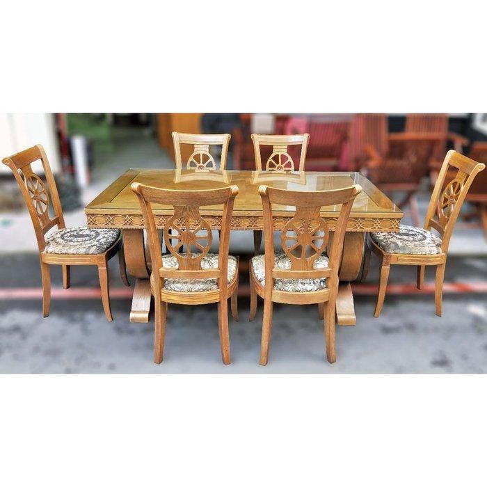 宏荃二手傢俱 胡桃木餐桌椅 方餐桌 1桌6椅 6人餐桌 實木餐椅組 胡桃木餐桌椅組合