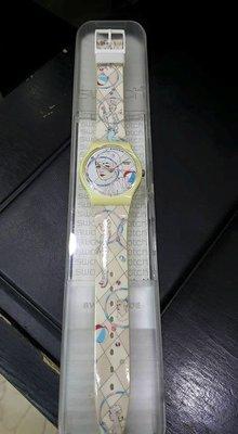 [永達利鐘錶 ] swatch 白色藝術家設計膠帶錶 GW156 原廠公司保固24個月 35mm