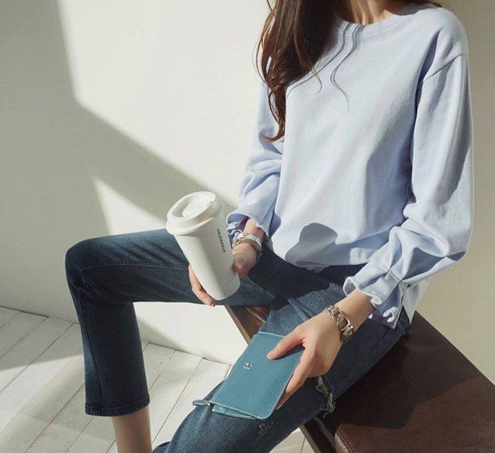 韓國空運 甜美荷葉袖口前短後長上衣 (預購)(3月新品-上衣)