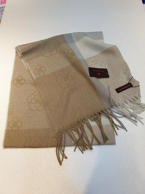 Amy's shop~日本直購~日本製~日本小香clathas山茶花緹花圖案格紋圍巾 ~(咖米/粉紫/藍灰)
