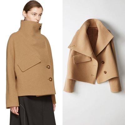 'OVERCOAT'秋冬新款女式毛呢外套蝙蝠袖卡其色羊毛呢大衣短款高