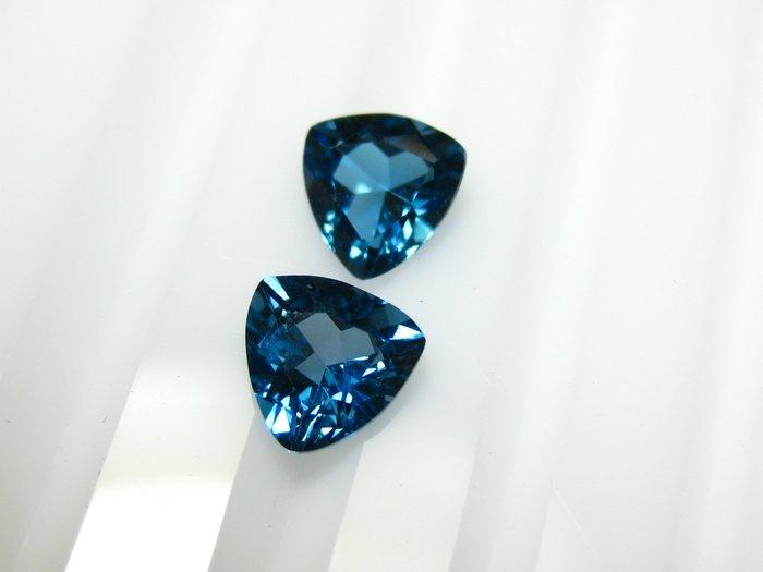 【Texture & Nobleness 低調與奢華】天然寶石 倫敦藍托帕石 拓帕石 成對共1.6克拉