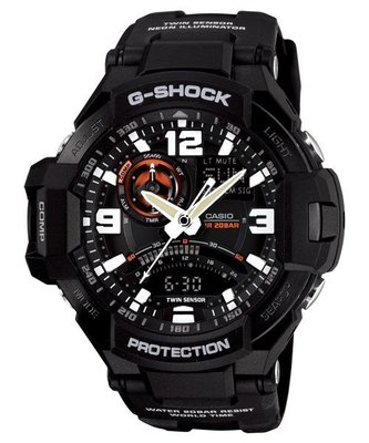 【EASYwatches】CASIO 卡西歐 G-SHOCK GA-1000-1A 數位羅盤 飛行錶 黑 GA_1100