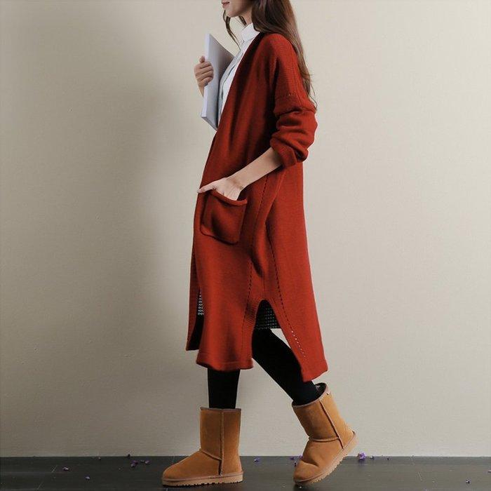 外套 長版外套 毛衣外套寬鬆v領中長款厚針織毛衣外套女秋新款現貨+預購--崴崴安
