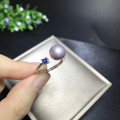 【藍寶石珍珠戒指】天然藍寶石珍珠戒指 時尚簡約 高雅搭配