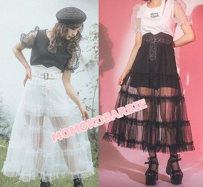☆搖滾甜心【AE01352】 日本ss超美DAZZLIN INGNI melt原單復古甜美高腰透視個性蛋糕搭裙