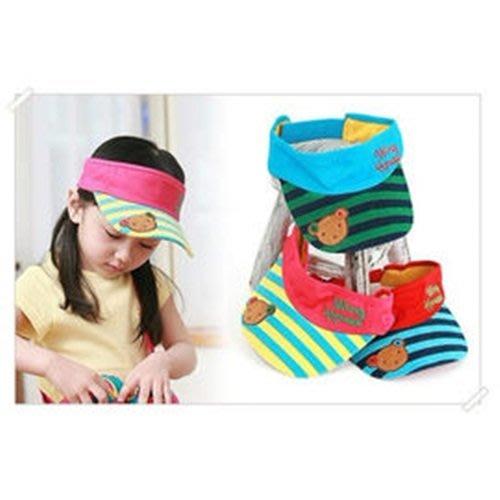 八號倉庫 韓版夏款卡通小熊條紋遮陽空頂帽.寶寶帽 嬰兒帽(三色)【2E225C0718】