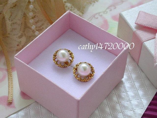 。☆凱希小舖☆。♥超低特價♥~日本珍珠k金耳環no.0319