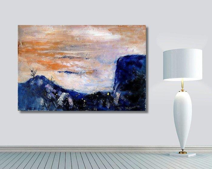 【 金王記拍寶網 】U1318  趙無極 款 抽象 手繪原作 油畫一張 罕見 稀少 藝術無價~