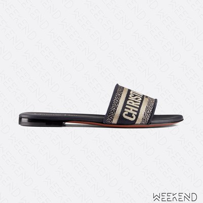 【WEEKEND】 DIOR DWAY Logo 刺繡 拖鞋 藍色