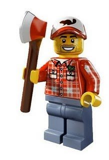 絕版品【LEGO 樂高】玩具 積木/ Minifigures人偶包系列: 5代 8805 單一人偶: 伐木工人 狼人前身